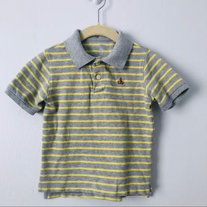 Gap Grey & Yellow Striped Polo with Bear Embroider